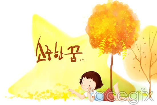 Korea child painted tree stars hierarchy template PSD