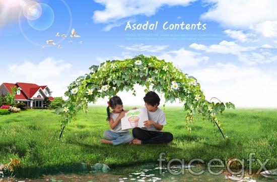 Korea naive children blue sky meadow House PSD