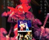 Culture of artistic conception of traditional Chinese Opera art Red PSD