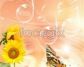 Fresh flowers and music background design PSD