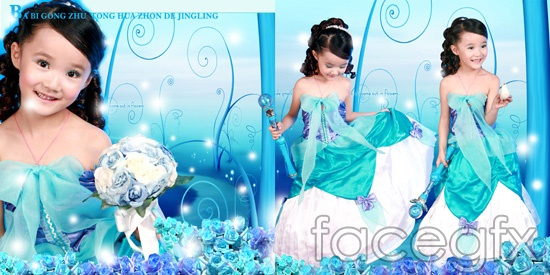 Wide Barbie Princess doll child templates PSD