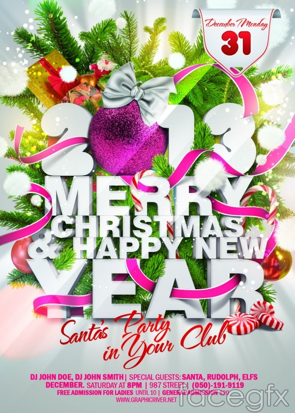 2013 new year decoration theme PSD poster