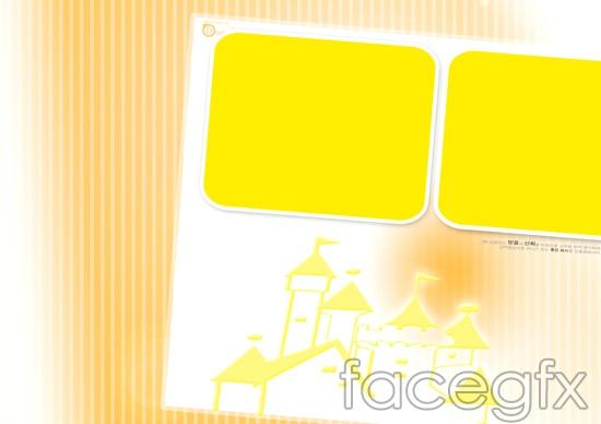Cute child photo yellow square  templates PSD