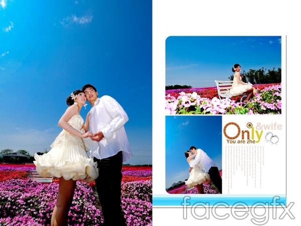 Romantic flowers theme PSD Deluxe photos
