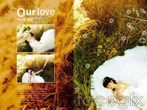 Wedding template effect of grass PSD