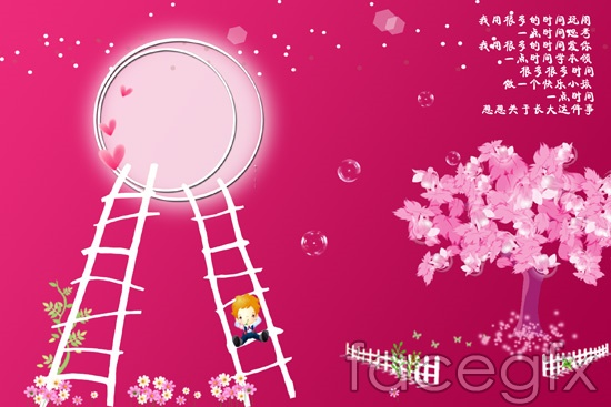 Fairy child template background with pink PSD