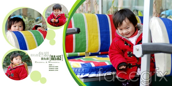"""Happy childhood"" children's amusement park photo PSD"