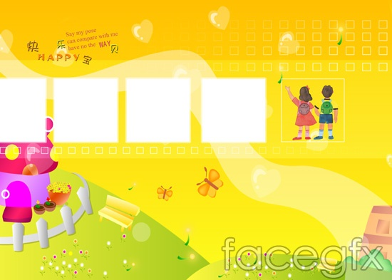 Join happy baby children's cartoon and yellow shades templates PSD