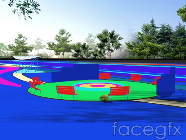 Real estate garden three-dimensional effect of small architecture PSD