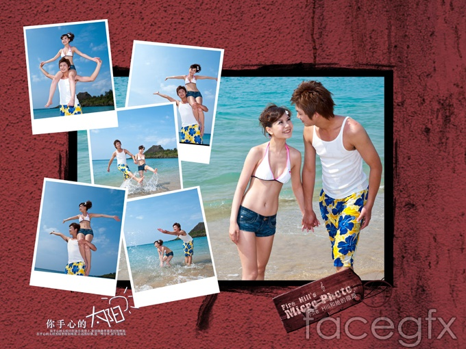 Romantic beach couple PSD photo