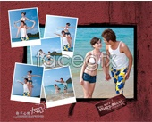 Romantic beach couple PSD photo