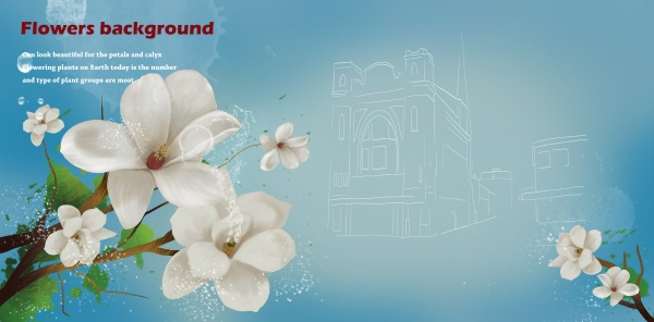 White flower background PSD