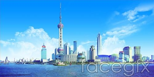 Blue Oriental Pearl Tower PSD
