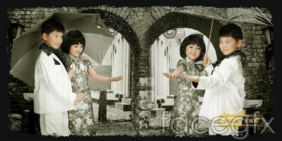 """China-Shanghai"" child boy girl umbrella PSD"
