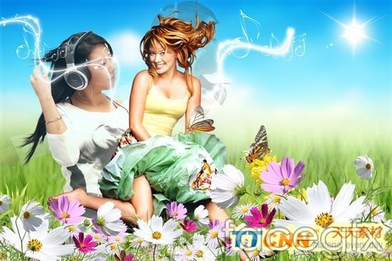 Fashion flower girl  IRIS templates PSD