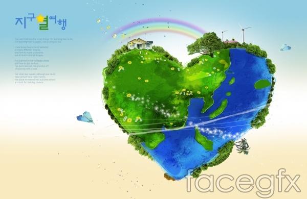 Korea heart-shaped Earth PSD environmental poster