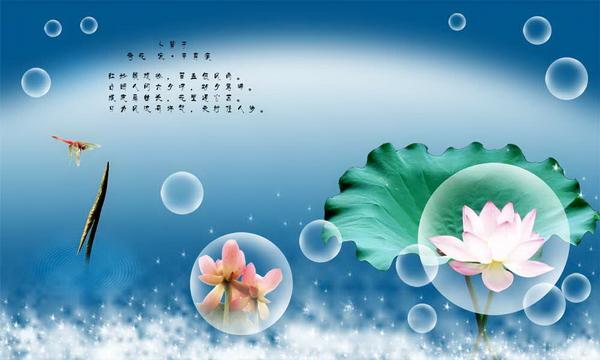 Lotus Dragonfly dreams bubble PSD