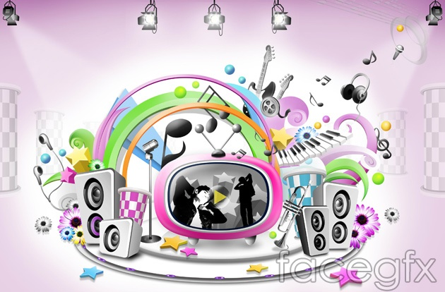 Music trends stage PSD