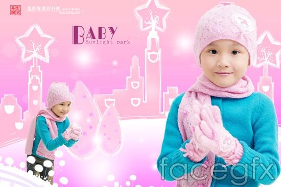 Baby garden Hat gloves scarf spread child photo album templates PSD