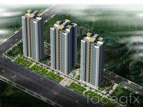High-rise residential building renderings properties  templates PSD