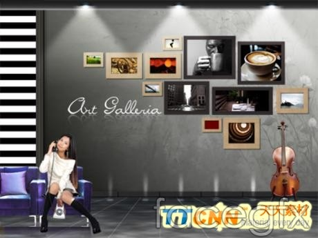 One HD film at poster picture of guitar floor PSD