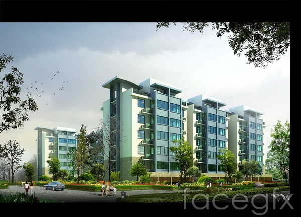 Building landscape renderings of real estate school buildings  templates PSD