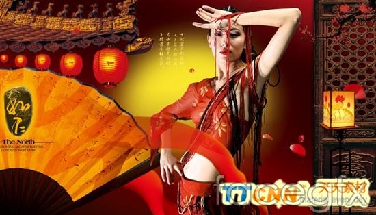 Chinese style classic Belle costume  templates PSD