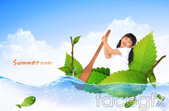 Green boating creative children PSD