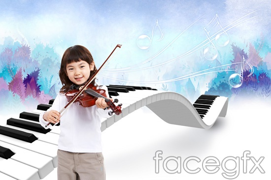 Happy violin piano child templates PSD