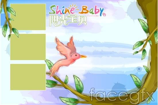 Sunshine baby bird tree white cloud child templates PSD