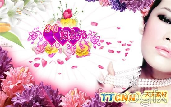 38 women's day jewelry flower poster PSD 2