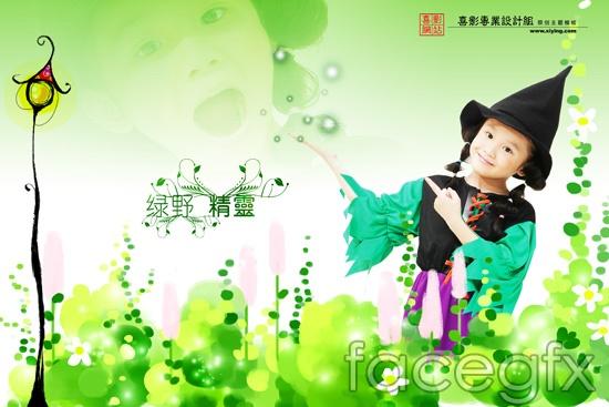 Baby garden spread children's album Black Hat template PSD