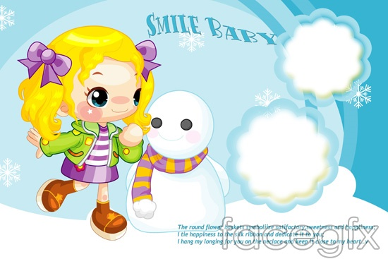 Child cute snowman cartoon girl template PSD