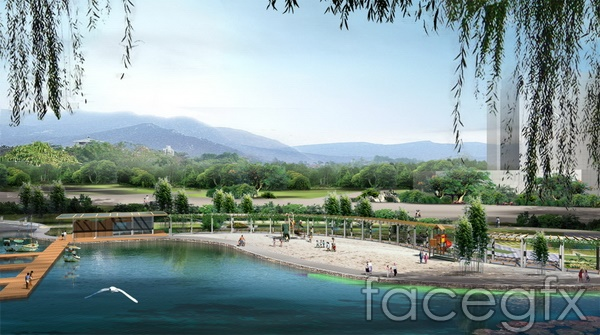Lakeside park landscape design renderings Willow Gull Lake  templates PSD