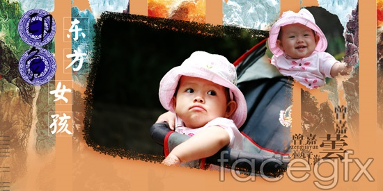 Oriental girl Hat children photography photo  templates PSD
