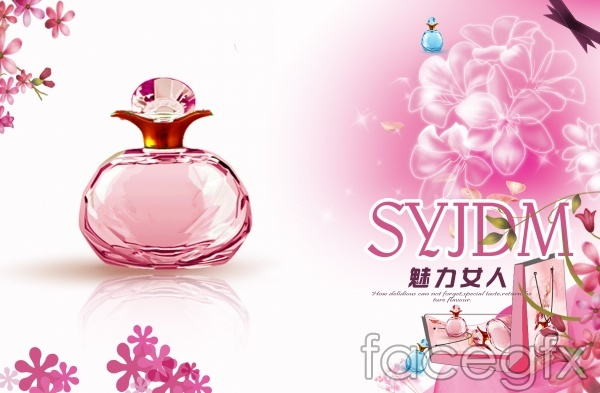 Pink glamour woman perfume PSD advertising