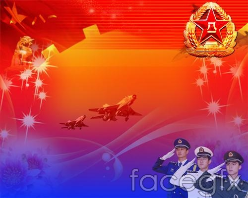 Bayi army background design PSD  templates