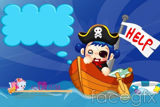 Cartoon mood station pirate captain child templates PSD