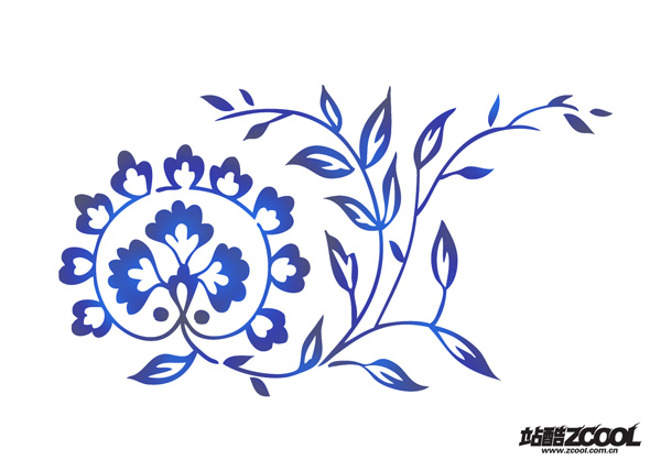Korea hand painted flowers blue template PSD