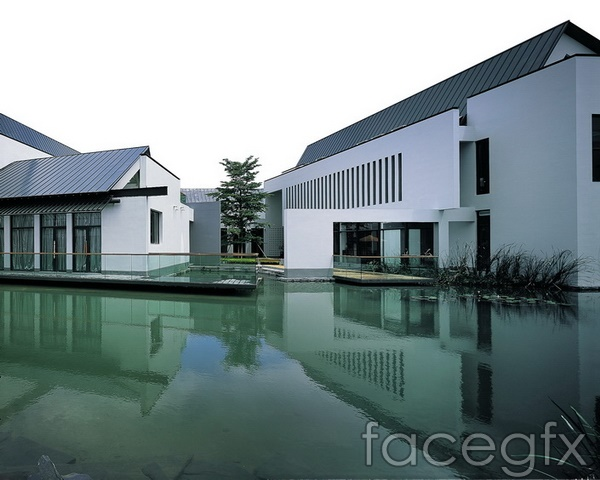 Lake architectural renderings of three-dimensional design PSD