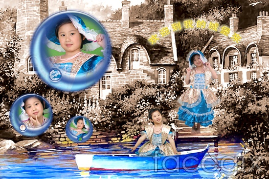 Oudian fairy tales children's photo House tree hierarchy template PSD