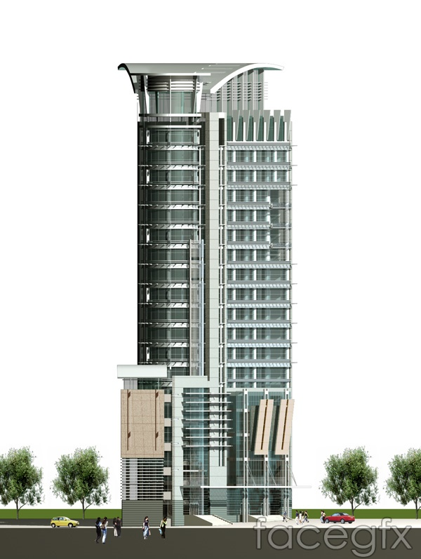3D renderings of high-rise building tall buildings in source files PSD