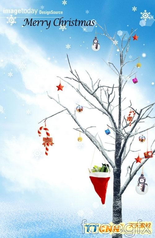 Creative Christmas trees and snow man PSD