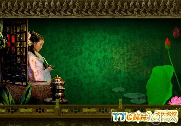 Estate for classical Chinese style Lotus figures PSD