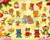 Cartoon tiger series PSD