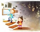 Illustrated children's cartoon PSD
