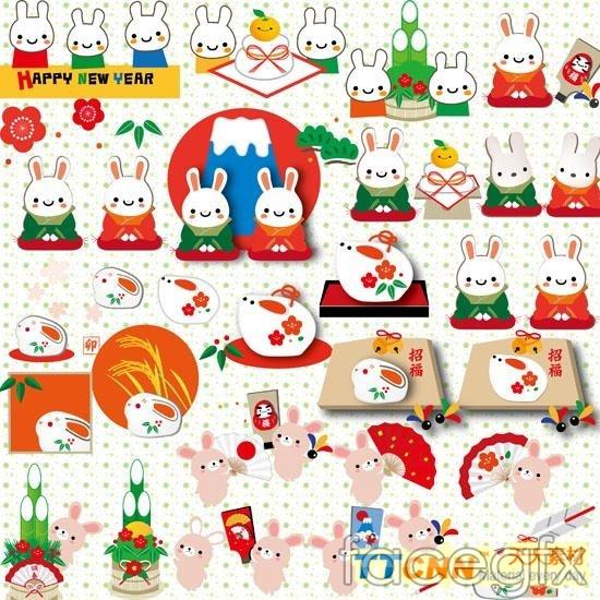 2011 cartoon rabbit design PSD