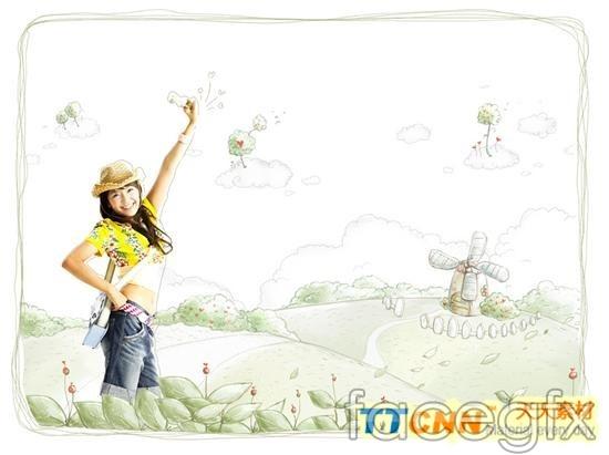 Hand-drawn illustration background beautiful PSD