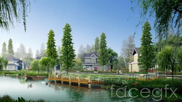 Landscape design renderings Park Lake villas PSD