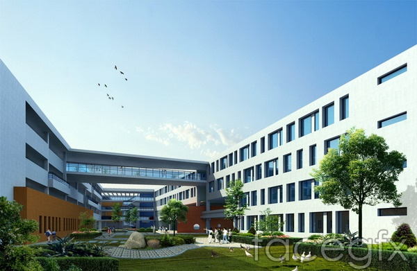 School construction and design renderings campus building  templates PSD